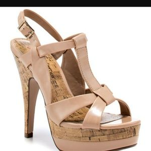 NEW Just Fab nude patent leather platform sandals